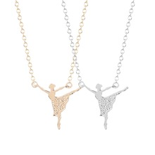 New Style Beautiful Unique Ballerina Girl Dance Necklace Pendant Jewelry Gift for Women and Girls(China)