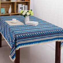 Fashion Bohemia folk style cotton linen tablecloth white lace stripe geometry pattern home restaurant tablecloth cover towels