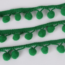 Stained Lace Ribbon 5Yards/lot Green Pom Pom Lace Trim Ball Fringe Lace Ribbon DIY Handmade Sewing Accessory(China)