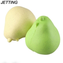 2017 New Arrival Squishy Pear Kawaii Cute Charms Phone Straps Super Slow Rising Fruit PU Press Bread Cake Kids Toys Gift 1PCS(China)