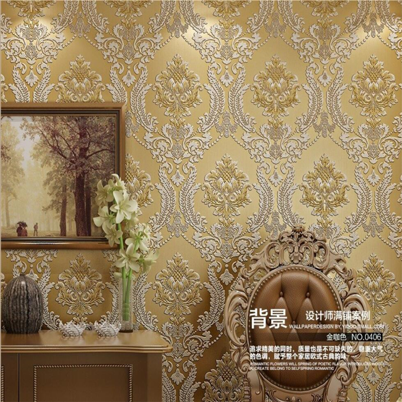 Beibehang 3d European living room wallpaper luxury classical brocade wallpaper roll floral 3D wall paper home decor papel tapiz<br>