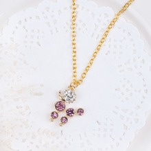 "8SEASONS New Fashion Necklace Link Cable Chain Gold color Dog Pendant Purple & Clear Rhinestone 61.0cm(24"") long, 1 Piece"