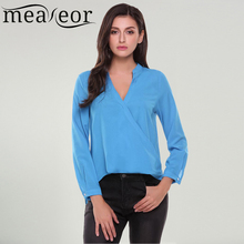 Meaneor Women Shirt Spring Autumn Casual Loose Solid Notch Neck Long Sleeve Faux Wrap High Low Hem Feminino Blouse Top
