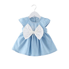 1Pcs Baby Girl Dress Jeans Children Kids Baby Denim Dresses One Piece Baby Summer Clothing For School Casual Wear Clothes Girl