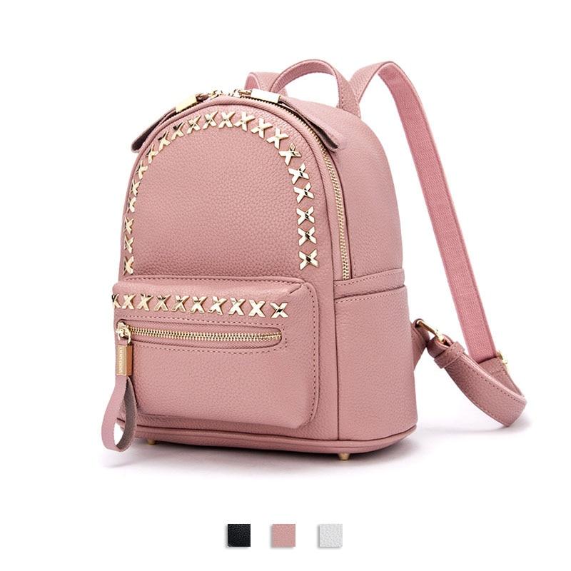 DOODOO Fashion Women Backpack Small PU Leather Backpacks Waterproof Strap Rivet Teenage Girl School Bag Backbag bts Mochila<br><br>Aliexpress