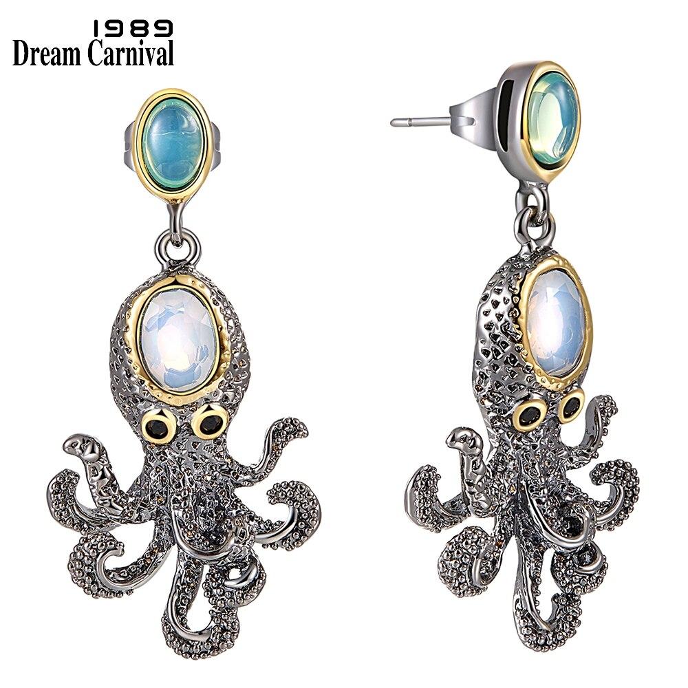 WE3875 octopus earrings vintage antique gothic jewelry women cz zircon opal (1)