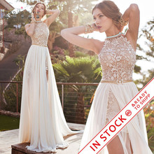 Romantic Ivory Lace Vestido de Noiva Beaded Sexy Backless High Low Beach Vintage Wedding Dress Chiffon 2017 Robe de Mariage
