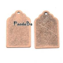 Metal Tags, Brass Blank Stamping Tag Pendants, Red Copper, 21x12x0.3mm, Hole: 1mm