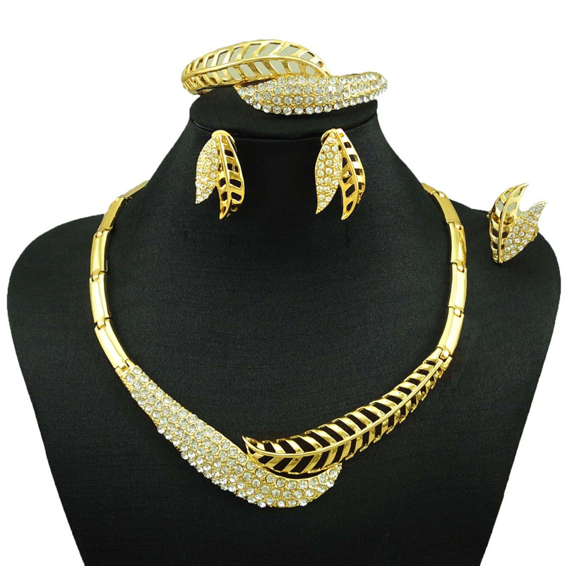 Indian Jewelry Dubai Gold Women Fashion Necklace Fine Sets 24k