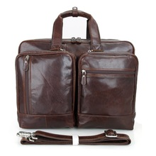 Famous Designer Brand Men Real Genuine Leather Briefcases 16-17 Inch Laptop Briefcases Vintage Handmade Tote Bag Handbags J7343(China)