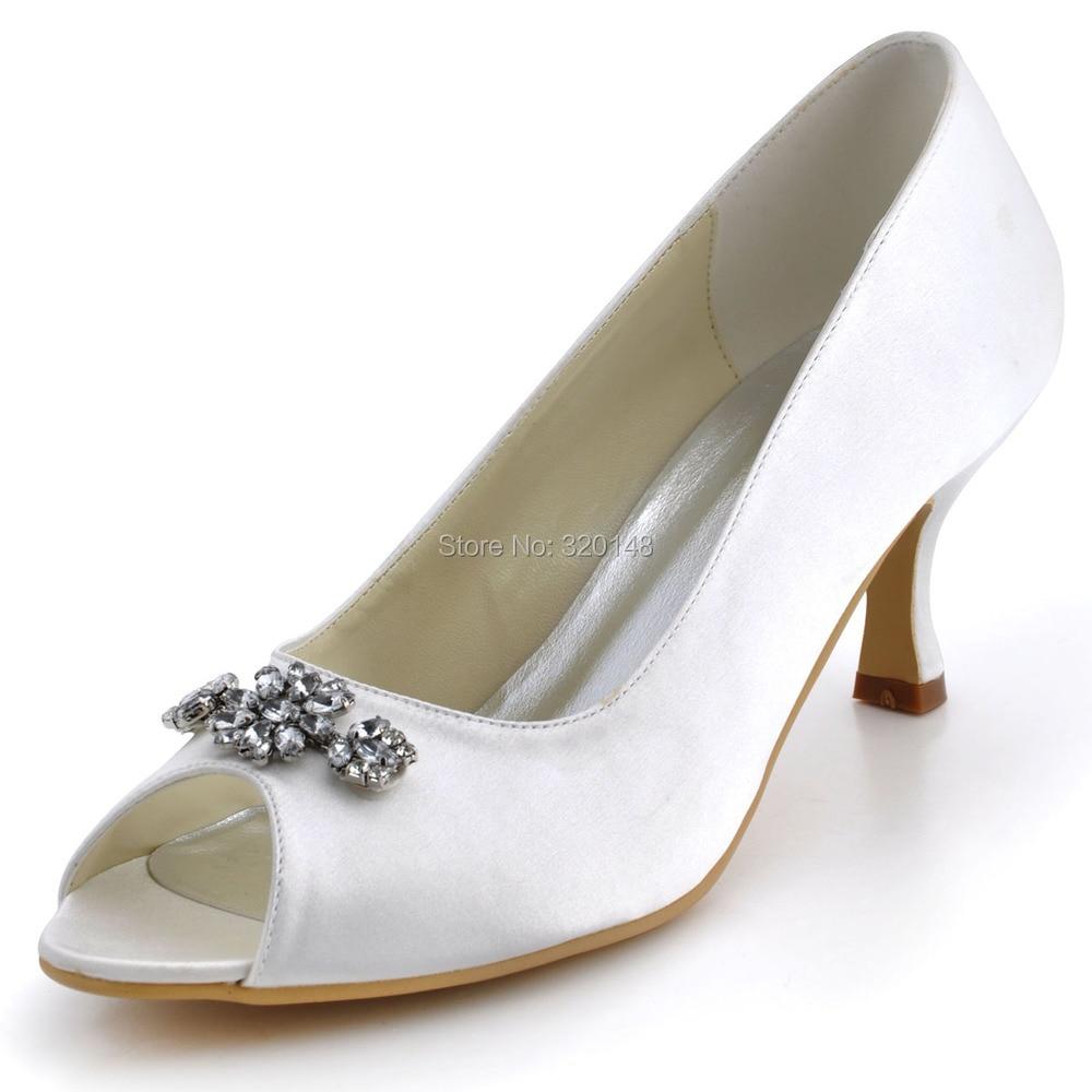 Wedding Shoes  Ivory Size 37 Peep Toe Mid Heel Rhinestones Satin Pumps Wedding Bridal Shoes Lady Shoes EP2038<br>