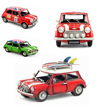 2 sizes Classical Iron metal model car UK Flag old car mini cooper Surfing car birthday gift 1pc retro model toy for colection(China)
