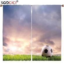 Window Curtains Treatments 2 Panels,Sports Decor Collection Soccer Ball on Green Grass Dark Clouds Sunrise Meadow Landscape