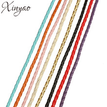 XINYAO 10m/lot 3 4 mm PU Braided Leather Cord Fit Bracelets Necklace Leather Rope String Diy Jewelry Making Accessories F583