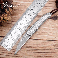 KKWOLF small silversmith Damascus folding knife Portable pocket knife Hand-forged steel handle Very sharp Tactical hunting knife