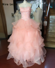 Najowpjg Custom Made Vestido 15 Anos Shiny Beading Crystal Sequins Pink Quinceanera Dresses Real Picture Shop Online China 2017(China)