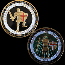 Free Shipping 5pcs/lot,Armor of God Challenge Coin Ephesians Bible Verse Knight Sword Defend the Faith