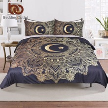 BeddingOutlet 3 Pcs Gold Mandala Flowers Star Moon Duvet Cover Black Dark Blue Bedding Set Soft Quilt Cover Single Bed Cover(China)