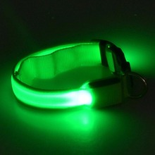 HOT High quality Green shipping LED Dogs Night Safety Pets Flashing Light Adjustable Nylon Collar Leash D