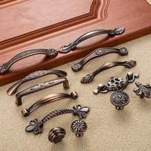 5pcs Furniture Handles Antique Door Handles Metal Drawer Pulls Vintage Kitchen Cabinet Handles and Knobs Furniture Handles(China)