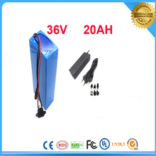 FCC/CE/ROSH free TNT shipping 1pcs/lot  1000W   36V 20Ah Electric Bicycle Battery with PVC  Case ,charger,BMS and battery bag