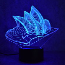 3D LED Night Sydney Opera House LED Lights USB Novelty Wireless Table Lamp Children's Night Light Atmosphere Desk Lamp(China)