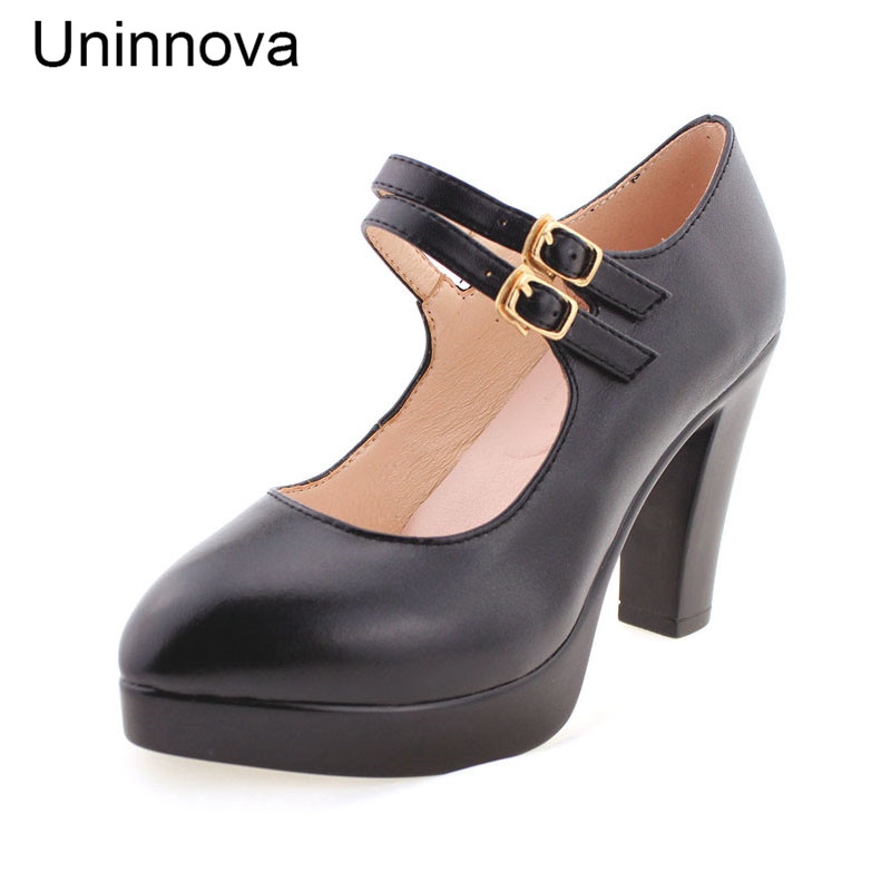 Uninnova Womens High Heels Mary Janes Office Lady Court Shoes Double Buckle Strap Platform Shoes Black Small Size 33 WP049<br>