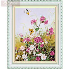 Needlework,DIY Ribbon Cross stitch Set for Embroidery kit,Summer dream butterfly flower ribbon Cross-Stitch Paint wall decor