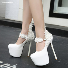 New Fashion Flower Sexy High Heels Wedding Shoes Woman White Shoes Women Pumps 15cm Platform Shoes Bride Stiletto