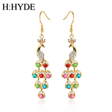 H:HYDE 2017 Fashion Colorful Crystal Peacock Earrings Fringed long earrings for Women Jewelry brincos femme(China)