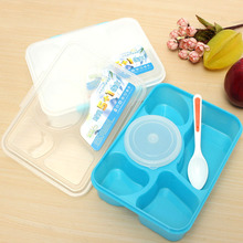 Portable Microwave Bento Lunch Box 5+1 Food Container Storage Box with 1 Spoon
