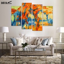 HD Painting 4 Panel Art Abstract Green Pictures  for Home Decoration Wall Art Canvas Prints framed