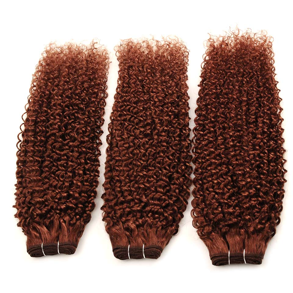 Pinshair Pre-Colored Color 33 Cheap Peruvian Human Hair Weaving Extensions Non-Remy Jerry Curly Hair Wefts 3 Bundles One Pack