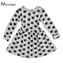 Little girl dresses for party 2016 autumn gray cartoon cat girls little dress long sleeve fall little girl party dresses brand(China)