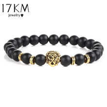 17KM Black Lava Natural Stone Gold Color Lion strand Bracelet Femme Ethnic handmade Beads Bracelets Turkish Men Jewelry(China)