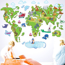 World Map Wall Stickers Children TV Setting Wall Map Of Cartoon Version Of Euramerican Style PVC Wall Stickers