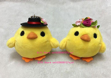 Adorable Yellow Duck , Chicken Bride & Groom Stuffed Plush Toy Doll - Keychain Charm Pendant Plush Doll , Gift Wedding Plush Toy