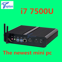 The Newest Barebone System Intel 7th Gen Kaby Lake i7 7500u Powerful Fanless Mini PC Mini Computer Support 3D Games DP+HDMI Port