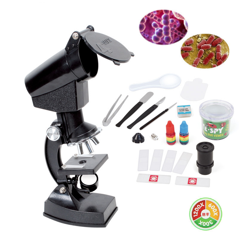 EYESHOT New Arrival 11.11 300x 600x 1200x 180 Degree Refractor Microscope Projector Set and Case for Kids Educational Gifts <br>