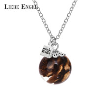 LIEBE ENGEL Pine Cone Pendant Necklace Women Jewelry Dried Flower Glass Wish Bottle Necklace With 1pc Free Gift Box 2017