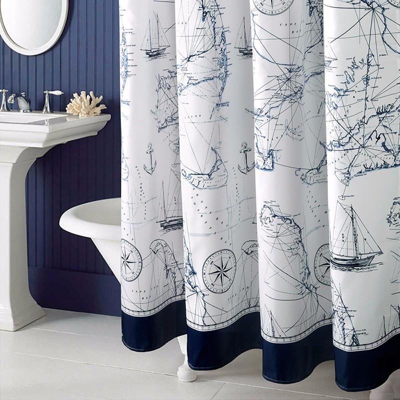 Mediterranean-Polyester-Sailboat-Shower-Curtain-Waterproof-Mildew-Thicken-Home-Bathroom-Curtain-Custom-Made