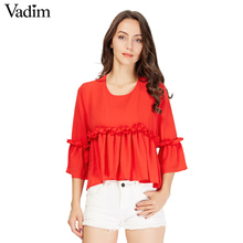 Women elegant ruffles chiffon shirt three quarter sleeve o neck blouse back zipper ladies fashion streetwear tops blusas LT1585(China)