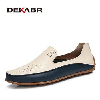 DEKABR Marque D'été de Causalité Chaussures Hommes Mocassins En Cuir Véritable Mocassins Hommes Conduite Chaussures de Haute Qualité Appartements Pour Homme taille 36-47