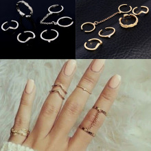 H:HYDE New 6pcs /lot Shiny Punk style Gold Color Stacking midi Finger Knuckle rings Charm Leaf Ring Set for women Jewelry