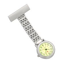 WEI PENG Nurses Lapel Pin Watch 24hr Military Time Analog Infection Control Watch Green Dial Reloj De Bolsillo