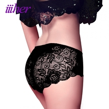 Buy iiiher Underwear Women Calcinha Sexy Lace Transparent Panties Briefs Womens Knickers Lingerie Lace Panties Bragas Mujer 4 Pieces