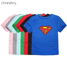 Little Bitty 2017 summer boys kid cartoon t shirt kids superman t-shirt baby girls children casual child short sleeve clothes