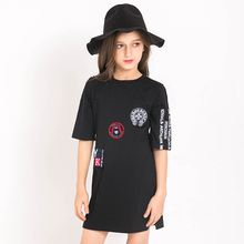 JINLILAI In The Children's Clothing  Bag Hip In The Long Sleeve Dress - Black and White Girls Head Stitching Loose T-shirt