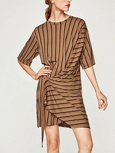Fashion Summer Tan Stripe D-Ring Details Wrap T-shirt Dress Ladies Casual Loose O Neck Half Sleeve Tee Dresses