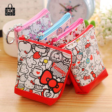 1pc lovely hello Kitty pu leather coin purses zero wallet child girl women change purse,lady zero wallets,coin bag Free shipping(China)